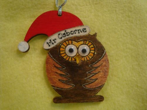 """Personalised Wooden Owl in Santa Hat Shaped Christmas Tree Hanger Decoration  Hand Painted Ideal Teacher Gift"